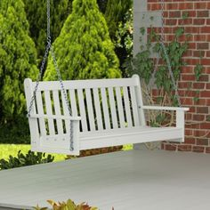 POLYWOOD Vineyard 3 Person Plastic White Porch Swing - GNS60