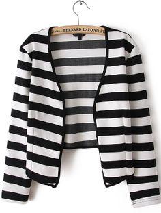 Black and White Stripes Collarless Open Crop Blazer - Sheinside.com