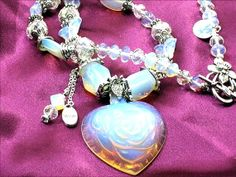 OPAL Heart Necklace Translucent Opal Heart with Opal Gemstone beads, Lace and Romance by Chris of FantasyDesign, $135.00