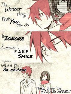 this is true.as someone who fakes smiles alot. Sad Anime Quotes, Manga Quotes, Meaningful Quotes, Inspirational Quotes, Dark Quotes, Sad Art, Depression Quotes, True Quotes, Quito