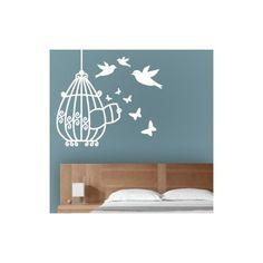 Vinilos decorativos infantiles de jaula con pajaritos y mariposas que vuelan alrededor. Pegatinas de pared con jaula , para decoración de espacios infantiles