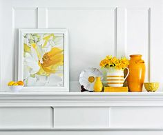 Choose an accent color from your room, and go from there, choosing objects in that color family to create a vignette. This design is asymmetrical. Remember to create balance in weight and balance when styling your mantel. Mantelpiece Decor, Magazine Deco, Boutique Deco, Mellow Yellow, Mustard Yellow, Bright Yellow, Color Yellow, Bright Colors, Fireplace Mantels