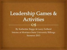 Slide show with activities and ideas on leadership (from ice breakers to team builders) Leadership Classes, Student Leadership, Leadership Activities, Educational Leadership, Leadership Development, Teamwork Games, Leadership Workshop, Leadership Exercises, Student Council Activities