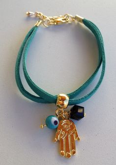 Leather bracelet with charms pulseira de couro hamsa