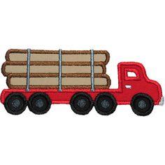 Logging Truck Applique by HappyApplique.com