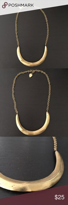 """Anthropologie Gold Crescent Necklace Heavy gold statement necklace. Adjustable length. Antiqued gold tone. Can't find the name of this necklace online, but I purchased it from Anthropologie in 2013. Approx. 25"""" long. Anthropologie Jewelry Necklaces"""