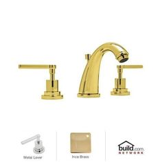 Rohl A1208LM-2 Avanti Double Handle Widespread Lavatory Faucet with Metal Lever Handles (Satin), Grey