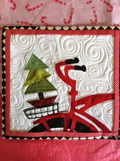 Christmas mug rug by Julie Gmehlin, featured at PatchworknPlay: mug rug swap