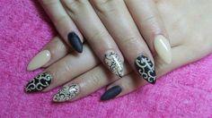 Black, beige and gold stiletto nails by Valkira - Nail Art Gallery nailartgallery.nailsmag.com by Nails Magazine www.nailsmag.com #nailart