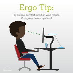 For optimal comfort, position your monitor 15 degrees below eye level. Humanscale Ergo Tip   Optimal comfort   Monitor adjustment   Homeworkers   Office workers   Ergonomics