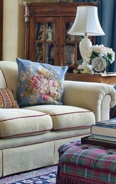 A beautiful mix of textiles in this English Country Living Room.