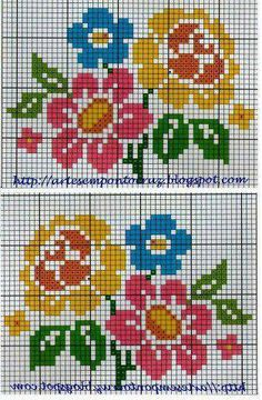 flores Cross Stitch Flowers, Cross Stitch Patterns, Loom Patterns, Cross Stitch Borders, Cross Stitch Animals, Beading Patterns, Cross Stitching, Cross Stitch Embroidery, Tapestry Crochet