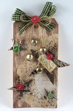 Country Christmas Tag...with jingle bells...Suzanne's Stamping Spot.