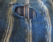 Japanese antique farmers work wear indigo boro patched trousers $140aud