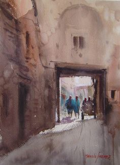 Watercolor Painting - Marrakech by Manolo Jimenez Watercolor Landscape, Watercolor Paintings, Watercolors, Oil Paintings, Marrakesh, Joseph Zbukvic, Granada Spain, Greeting Cards, Wall Art