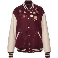 Marc Jacobs Oversized Felt Varsity Jacket ($1,600) ❤ liked on Polyvore featuring outerwear, jackets, purple jacket, varsity jacket, purple letterman jacket, college jacket and varsity style jacket