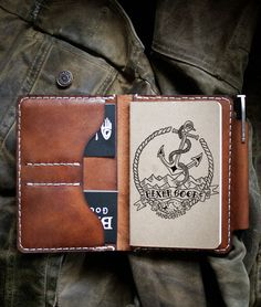 Field Notes Wallet -- Journal - Bexar Goods Co :: Texas Makers of Durable Goods Leather Books, Leather Notebook, Leather Gifts, Leather Pieces, Handmade Leather, Leather Journal, Leather Bag, Brown Leather, Passport Wallet