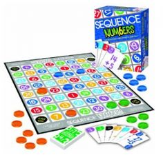 This game is similar to Bingo. Here is how you play it: The brightly colored cards have questions and the answers are printed on the game board. Place a tile on the answer. With five in a row, you have a Sequence!