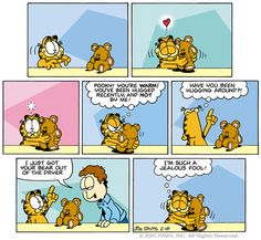"""There's no doubt about it...Garfield loves his teddy bear!  Want to see more comic strips with Pooky...search using the keyword """"pooky"""" in the Garfield Collectibles store: http://garfieldcollectibles.com/collections/garfield-comic-strips/products/daily-comic-strip-giclee"""