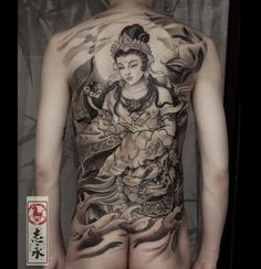 … Girl Back Tattoos, Back Tattoos For Guys, Boy Tattoos, Falcon Tattoo, Buddha Tattoo Design, Back Piece Tattoo, Fresh Tattoo, Asian Tattoos, Japan Tattoo
