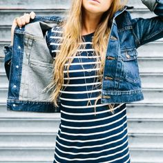 Denim, stripes, and dainty jewelry.