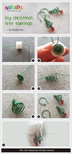 #DIY Summary: Here comes a piece of holiday jewelry. During happy holiday, wearing a piece of holiday spirited jewelry may add more happy atmosphere. This is a pair of Christmas tree earrings out of wire and small beads. It's a cute and interesting wire design