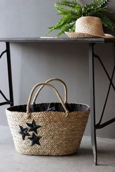 Black Star Straw Bag