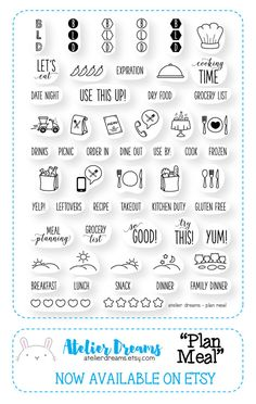 PLAN MEAL Planner Stamps Photopolymer Clear par AtelierDreams
