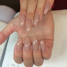 Nails ♡ I'm in love with this nude shape a little too long for me but color is perfect for Summer