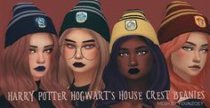 """pxelpink: """" harry potter hogwarts house crest beanies!!! • mesh is NOT included, download it here(beanie B) • 4 swatches • download: dropbox • enjoy! ★~(◠‿◕✿) """""""