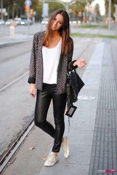 Cómo combinar leggins cuero: fotos mejores imágenes - Leggins cuero con chaqueta