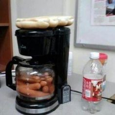Don't laugh. They say it works. If true, a great way to have hot dogs at the office!!  Just plug in one of those little crock pots with chili, add some grated onion and cheese, and you're in business!  Think Outside The Box