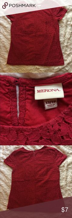 """All-Over Lace Merona Top This is a lovely, short-sleeved, all-over lace top from Merona. It's red and has a buttoned keyhole in the back. I would describe this as """"gently used"""". It is still in good, wearable condition, but no longer appears brand new. Merona Tops Tees - Short Sleeve"""