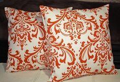 Etsy Orange Damask Pillows