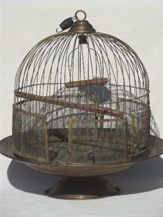 antique brass beehive birdcage w/ table stand, Victorian vintage bird cage