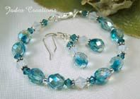 Aqua/Clear Sparkle -Beaded Jewelry Bracelet or Set Item B490