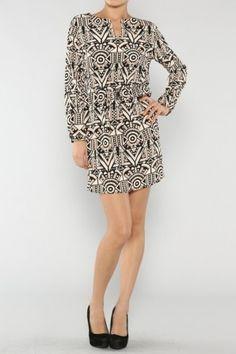 Geo Print Dress If you love dresses salediem has the look for Fall #salediem #fall#fashion. Shipping is FREE!