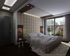 Bed Back Panel Designs : ... Panel Applied In Contemporary Bedroom Designs With Glass Panel Idea