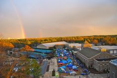 A rainbow emerges over K-Ville before a game in 2009.