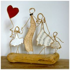Une famille pour la vie ! - figurines en ficelle et papier