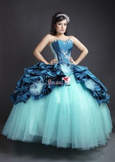 2017 New Beaded Sweet 15 Ball Gown Tiffany Blue and Peacock Blue Satin Organza Prom Dress Gown Vestidos De 15 Anos