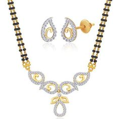 "Viyari Goldtone Cubic Zirconia """"Deepti"""" Mangalsutra 16 Inch with 1/2 Inch Extender Necklace Earrings Jewelry Set"
