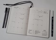My February Bullet Journal monthly calendar layout. I love the grid layout and the minimalistic look!