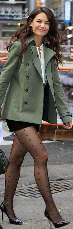 Who made Katie Holmes' green coat, black shorts, white collarless top, and black pumps that she wore in New York?