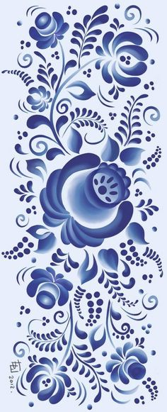 Folk Gzhel painting from Russia. A floral pattern. #folk #art #Russian #patterns