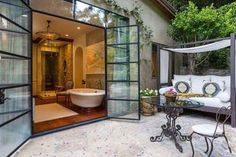 The master suite opens to a private patio at J. Lo's house in Bel Air.
