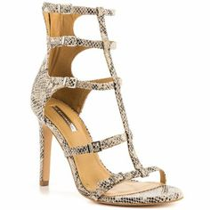 strappy snakeskin heels