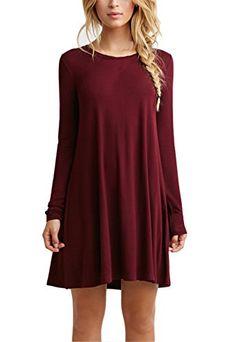 Women's Plain Cute Simple Tshirt Dress (L, Burgundy) - http://www.darrenblogs.com/2016/10/womens-plain-cute-simple-tshirt-dress-l-burgundy/