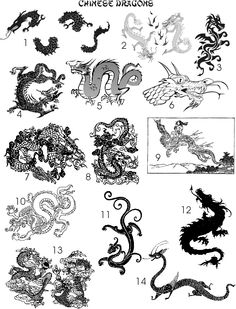 Assorted Chinese dragons i'm going to use as inspiration in my chinoiserie project