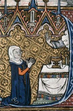 Gardecorps - warme mantel Marseille - BM - ms. 0111, f. 040 - 1280-1290 - nord de la France - Heures à l'usage de Thérouanne. - Femme en prière